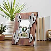 Galvanized Cactus Picture Frame, 4x6