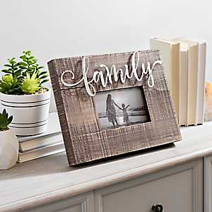 Family Wood and Tin Picture Frame, 4x6