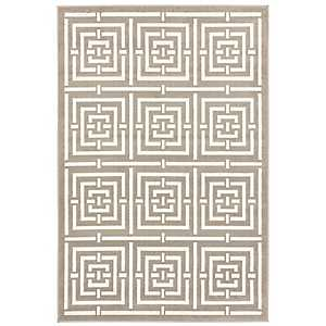 Gray and White Bronson Network Area Rug, 5x8