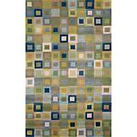 Blue Colorful Squares Area Rug, 5x8