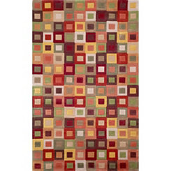 Red Colorful Squares Area Rug, 5x8