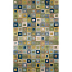 Blue Colorful Squares Area Rug, 8x10