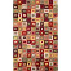 Red Colorful Squares Area Rug, 8x10