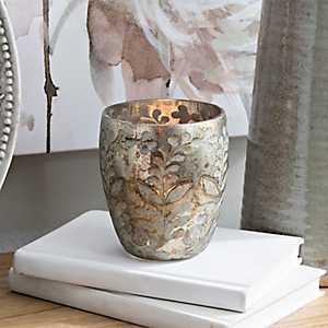 Floral Etched Glass Votive Holder