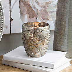 Floral Etched Glass Votive Holder