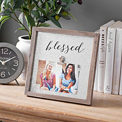 Galvanized Metal Blessed Clip Frame, 4x6