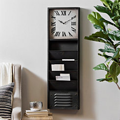 Distressed Black Metal Wall Storage Clock