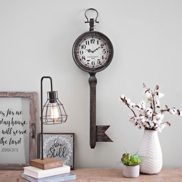 round wrought iron key wall clock