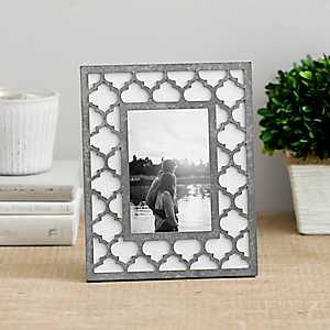 Galvanized Metal Lattice Picture Frame, 4x6