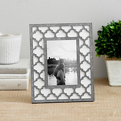 Faux Galvanized Metal Lattice Picture Frame, 4x6