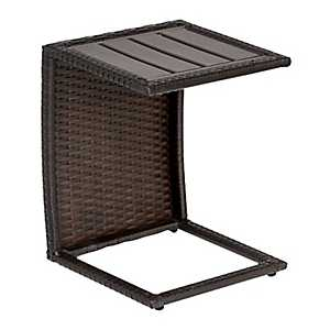 Nevis Espresso Brown Wicker Outdoor C-Table