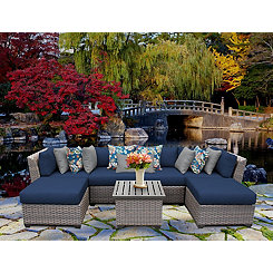 Blue Bali Gray Wicker Outdoor 7-pc. Patio Set