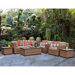 Laguna Caramel Wicker 7-pc. Outdoor Furniture Set