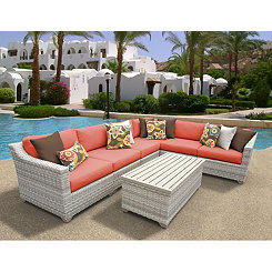 St. Martin Vanilla Wicker 7-pc. Outdoor Patio Set