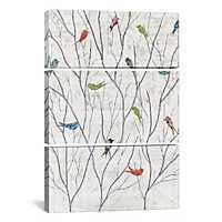 Summer Birds Triptych Canvas Art Prints, Set of 3