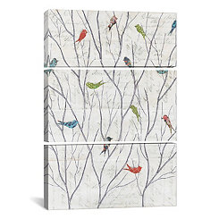 Summer Birds Triptych Canvas Art Prints, Set of 3