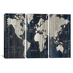 Old World Map Triptych Canvas Art Prints, Set of 3