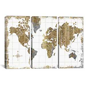 Gilded Map Triptych Canvas Art Prints, Set of 3