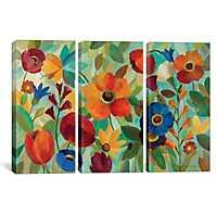 Summer Floral Triptych Canvas Art Prints, Set of 3