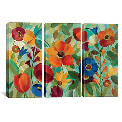 Summer Floral Triptych Canvas Art Prints, Set of 3