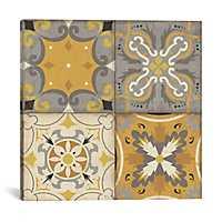 Gray Glow Tile Squares Canvas Art Print