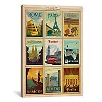 European Cities Collage Canvas Art Print