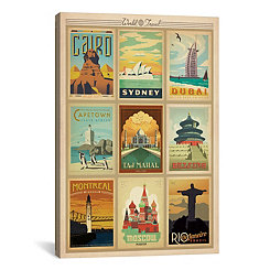 World Cities Collage Canvas Art Print
