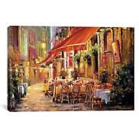 Cafe in Light Canvas Art Print