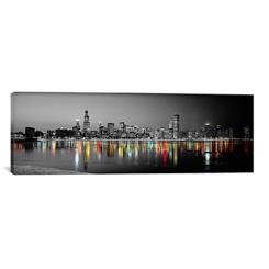 Chicago Skyline at Night Canvas Art Print