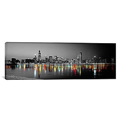 Chicago Skyline at Night Canvas Art Print