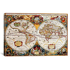 Antique Map of the World Canvas Art Print