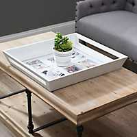 6-Opening Cream Wood Collage Frame Tray