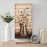 Cotton in Pitcher Slatted Wood Art Print