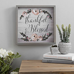 Thankful and Blessed Floral Framed Art Print