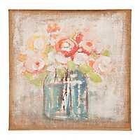 Soft Bouquet in Vase Burlap Canvas Art Print