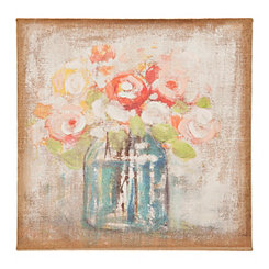 Soft Bouquet in Vase Burlap Canvas Art Print