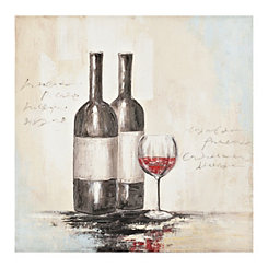 Wine Bottles and Glass Canvas Art Print