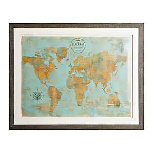 Rustic World Map Framed Art Print