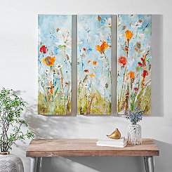 Floral Connected Canvas Art Prints, Set of 3