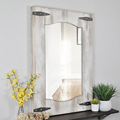 Distressed Ivory and Tan Barn Door Wall Mirror