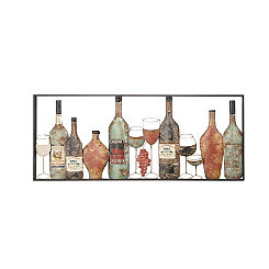 Wine Bottles Metal Wall Plaque