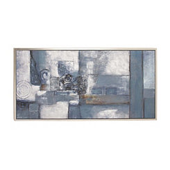 Blue Abstract Framed Canvas Art Print