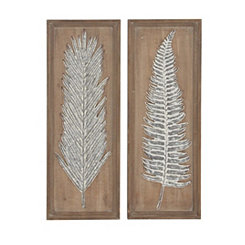 Wood and Metal Frond Wall Plaques, Set of 2