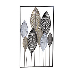 Metallic Leaves Metal Wall Plaque
