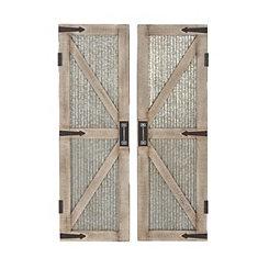 Galvanized Metal Barn Door Plaques, Set of 2