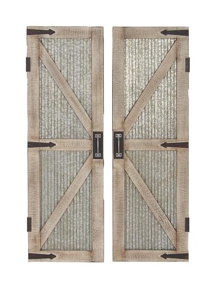 Nice ... Galvanized Metal Barn Door Plaques, Set Of 2 ...