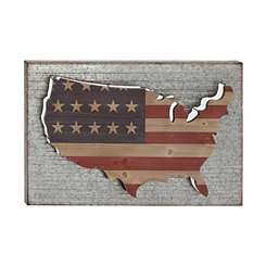 Galvanized Metal Pop-Out USA Wall Plaque