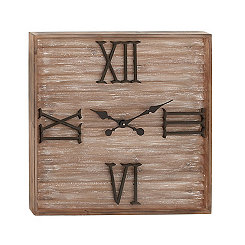 Rustic Slats Wood And Metal Wall Clock