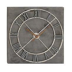 Gray Deco Wood and Metal Wall Clock