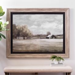 Quiet Foggy Barn Framed Art Print